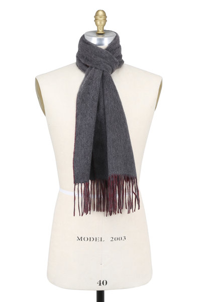 Raffi - Cranberry & Iron Double-Faced Cashmere Scarf