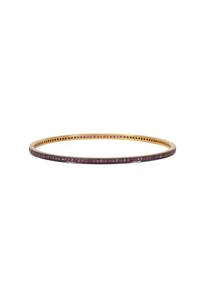 Loren Jewels - Sterling Silver Pink Sapphire Bangle Bracelet