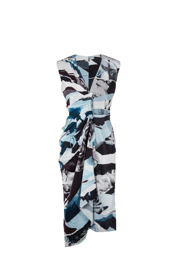 Alexander McQueen Blue & Ivory Torn Rose Print Silk Sleeveless Dress