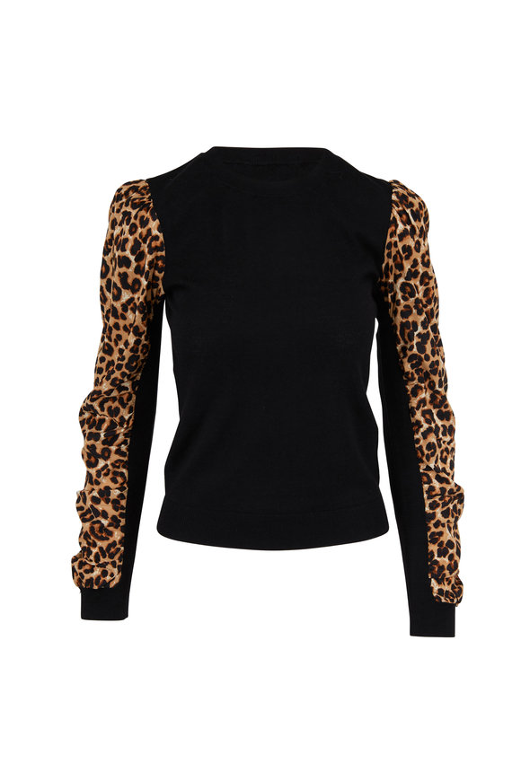 Veronica Beard Adler Black Leopard Sleeve Mix Media Sweater