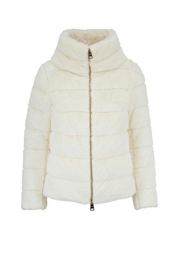 Herno White Faux Fur Funnel Neck Jacket