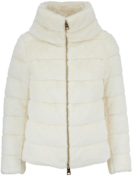 Herno White Faux Fur Funnel Neck Jacket