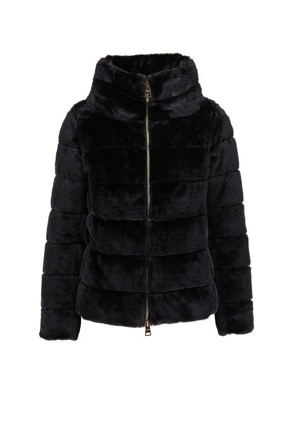 Herno Black Faux Fur Funnel Neck Jacket