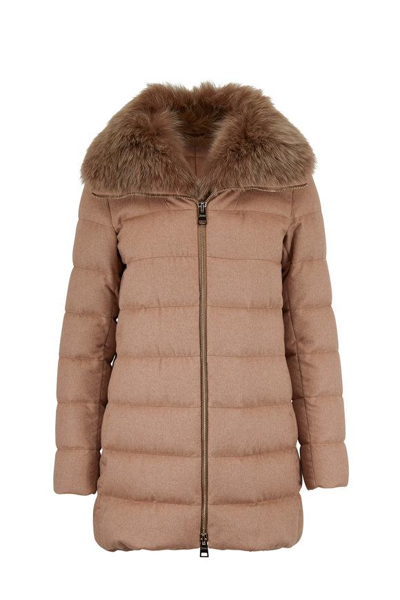Herno Camel Silk & Cashmere Fur Collar Puffer Coat