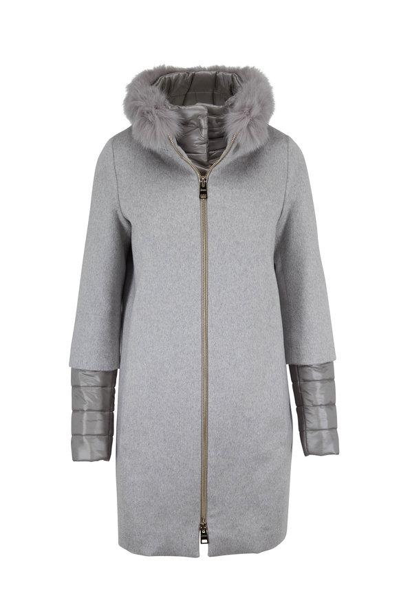 Herno Gray Cashmere Fur Collar Dickey Coat