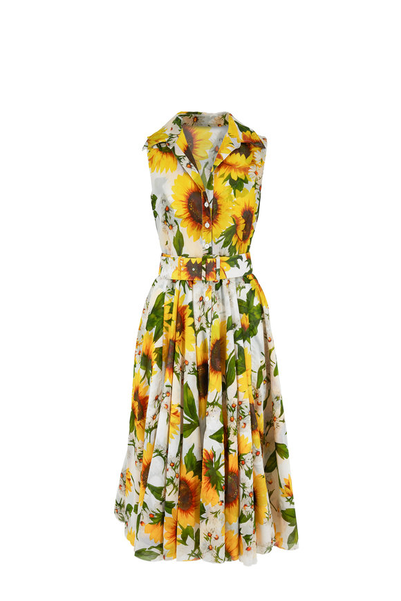 Samantha Sung Asterd Sunflower Print Sleeveless Midi Dress