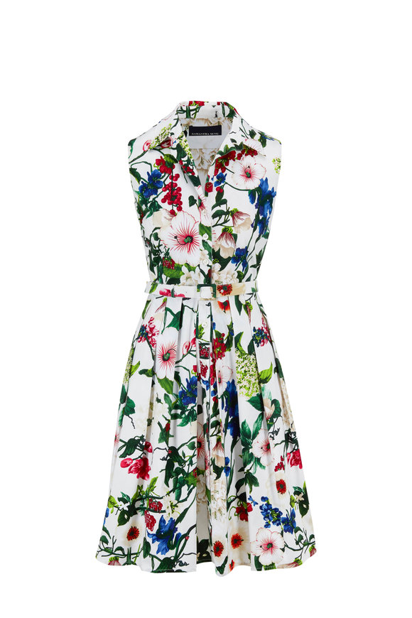 Samantha Sung Audrey1 White Multi Floral Sleeveless Belted Dress