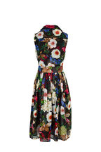 Samantha Sung - Audrey2 Black Floral Print Sleeveless Belted Dress