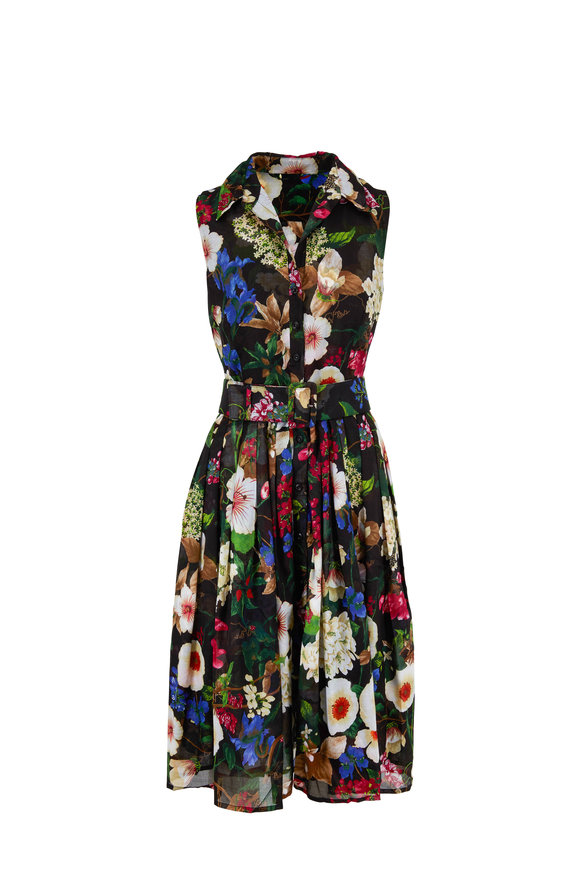 Samantha Sung Audrey2 Black Floral Print Sleeveless Belted Dress