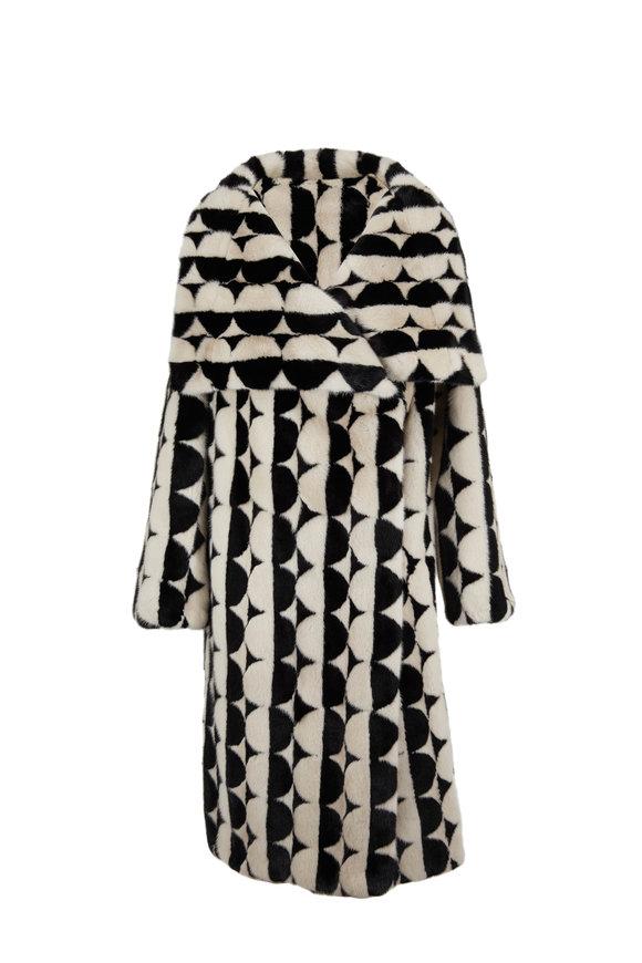 Oscar de la Renta Furs Pearl & Black Dyed Mink Intarsia Circles Coat