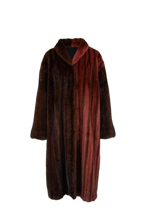 Oscar de la Renta Furs Guava & Mahogany Dyed Mink Robe Coat