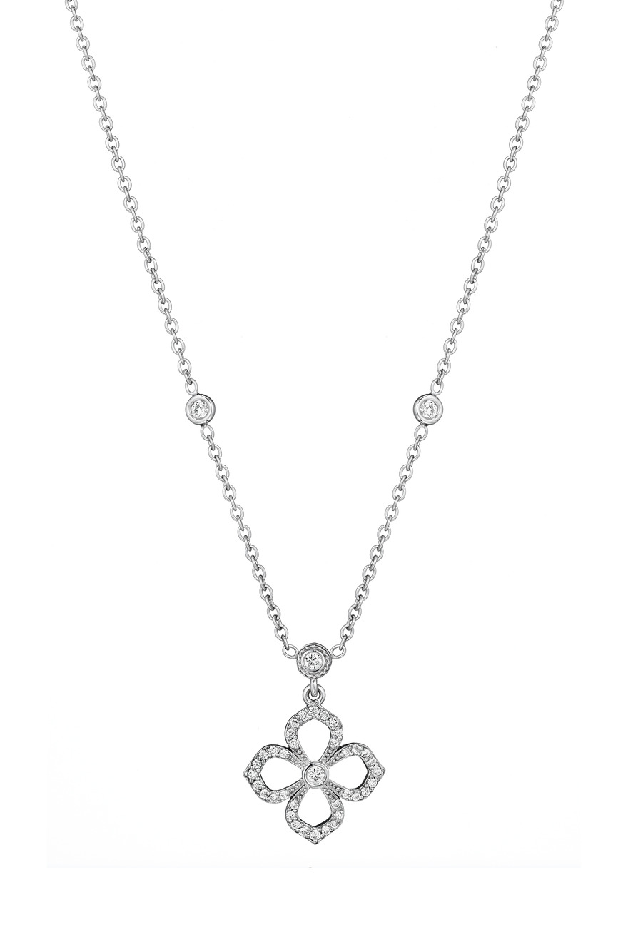 Flower Petal White Gold Diamond Pendant