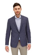 Canali - Navy Blue Floral Modern Fit Sport Shirt