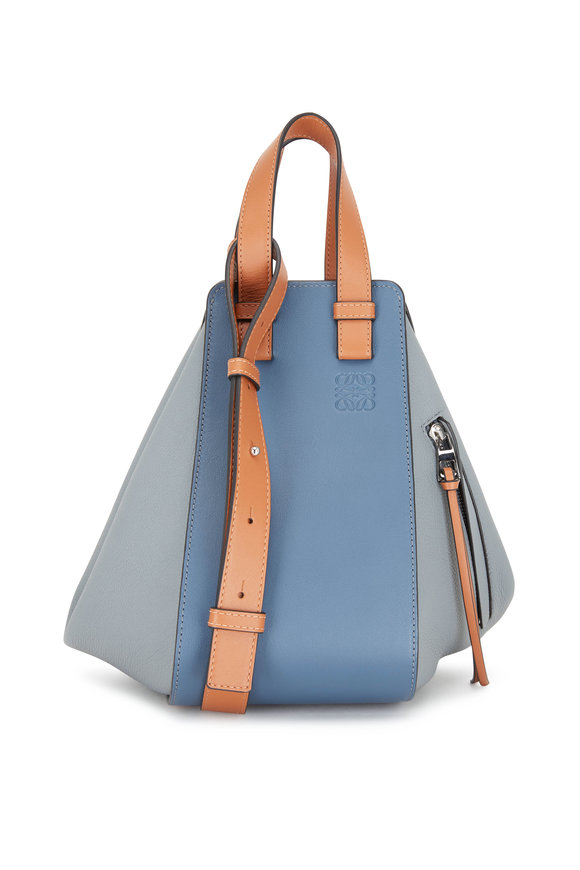 Loewe Steel Blue & Tan Hammock Medium Tote