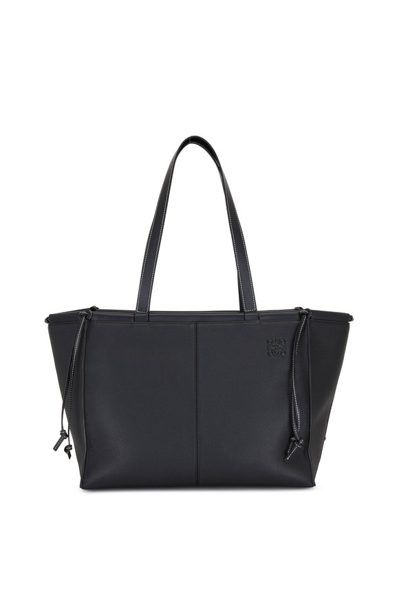 Loewe Black Leather De Cushion Tote Bag