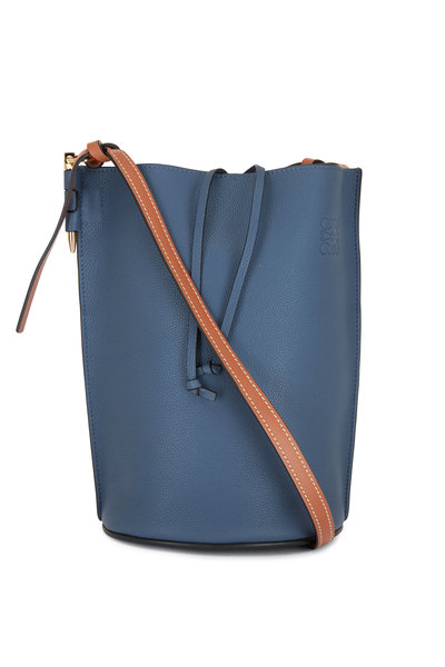 Loewe - Gate Medium Blue Leather Bucket Bag