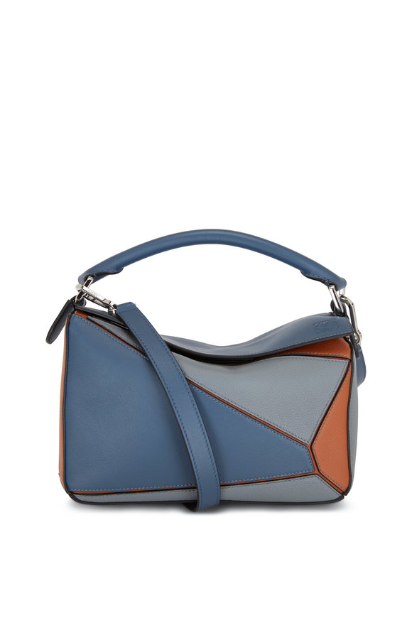Loewe Small Puzzle Steel Blue & Tan Shoulder Bag