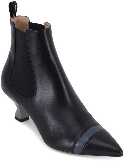 Fendi Black Leather Double-Gore Bootie, 55mm