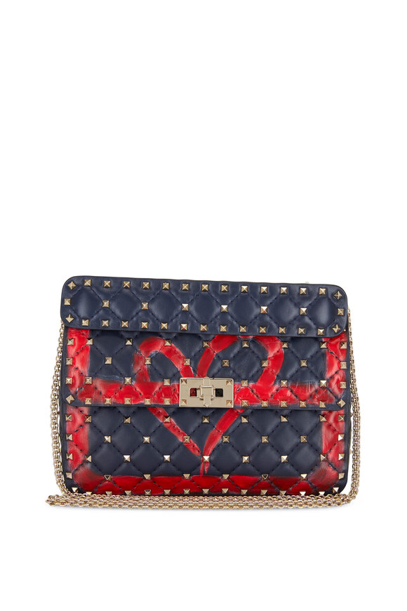 Valentino Garavani Rockstud Spike It Marine & Red Heart Shoulder Bag