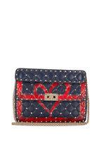Valentino Garavani - Rockstud Spike It Marine & Red Heart Shoulder Bag
