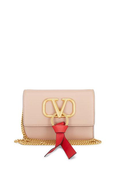 Valentino Garavani - VRing Rose & Red Leather Mini Chain Crossbody