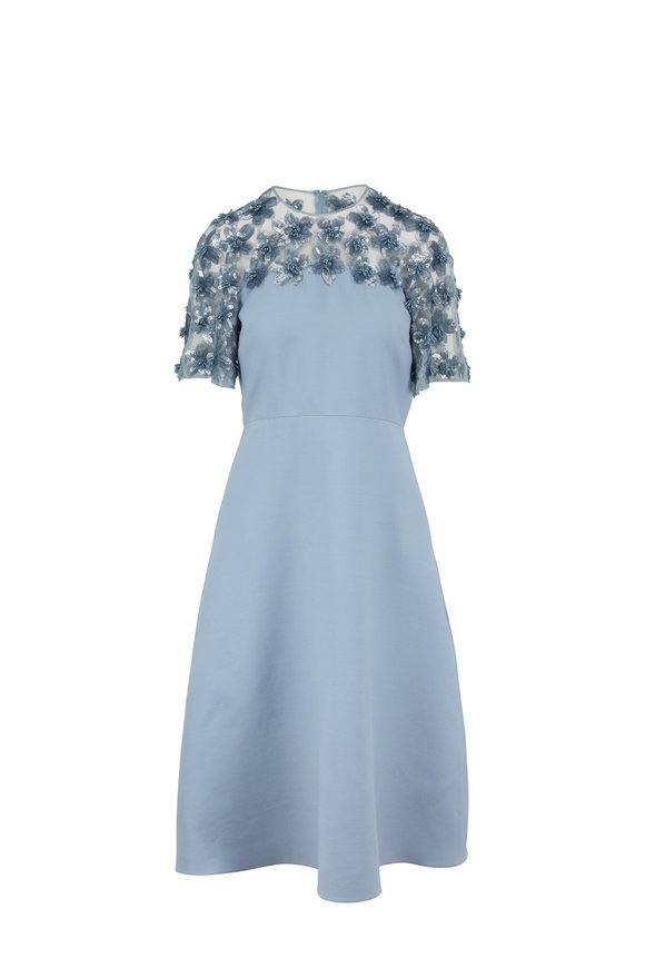 Valentino Blue Crepe Couture Embellished Short Sleeve Dress
