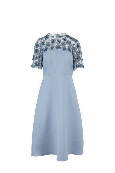 Valentino - Blue Crepe Couture Embellished Short Sleeve Dress