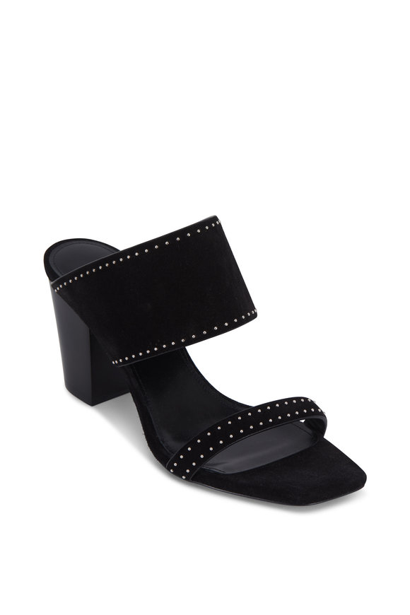 Saint Laurent Oak Black Suede Studded Mule, 75mm