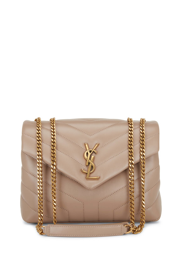 Saint Laurent Loulou Beige Quilted Leather Chain Small Bag