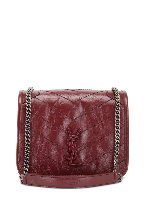 Saint Laurent Niki Monogram Wine Quilted Leather Small Bag