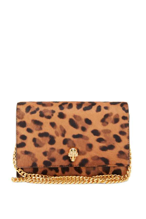 Alexander McQueen Leopard Print Calf Hair Mini Skull Bag