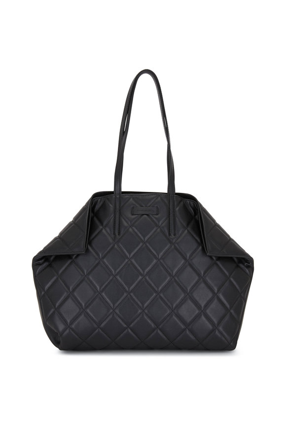 Alexander McQueen Butterfly Black Quilted Leather Medium Tote