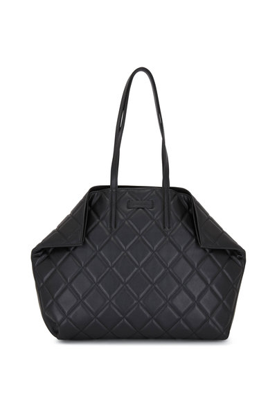 Alexander McQueen - Butterfly Black Quilted Leather Medium Tote
