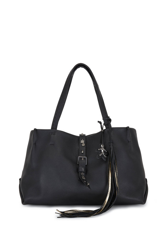 Henry Beguelin Black Leather With Charm Belt Detail Tote