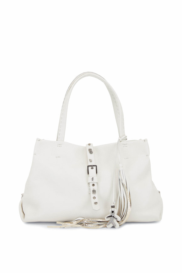 Henry Beguelin Tania White Leather Charm Strap Detail Tote Bag
