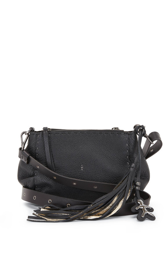 Henry Beguelin Gemella Black Leather Double-Zip Small Crossbody