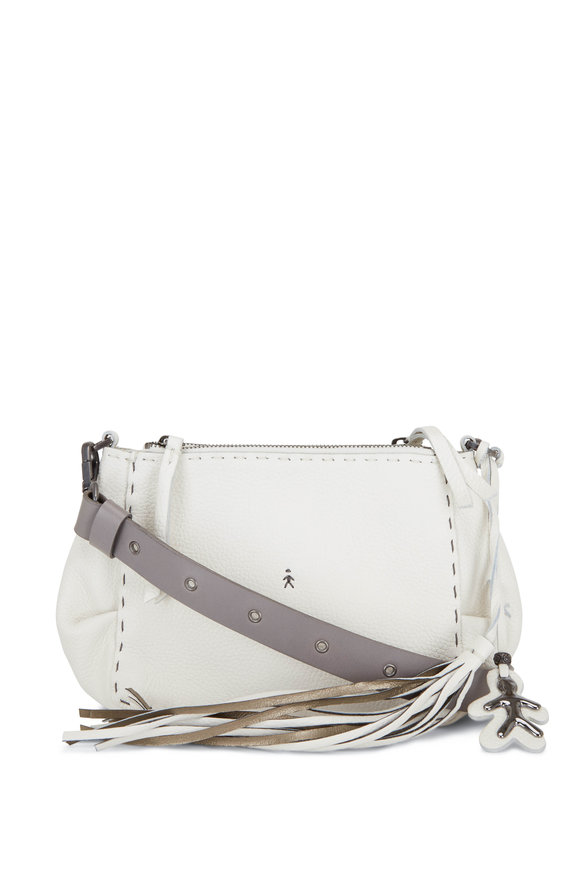 Henry Beguelin Gemlla White Leather Double Zip Crossbody Bag