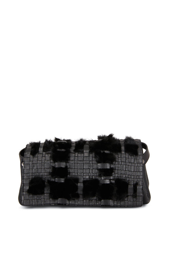 Henry Beguelin Black Leather & Fur Belt Bag