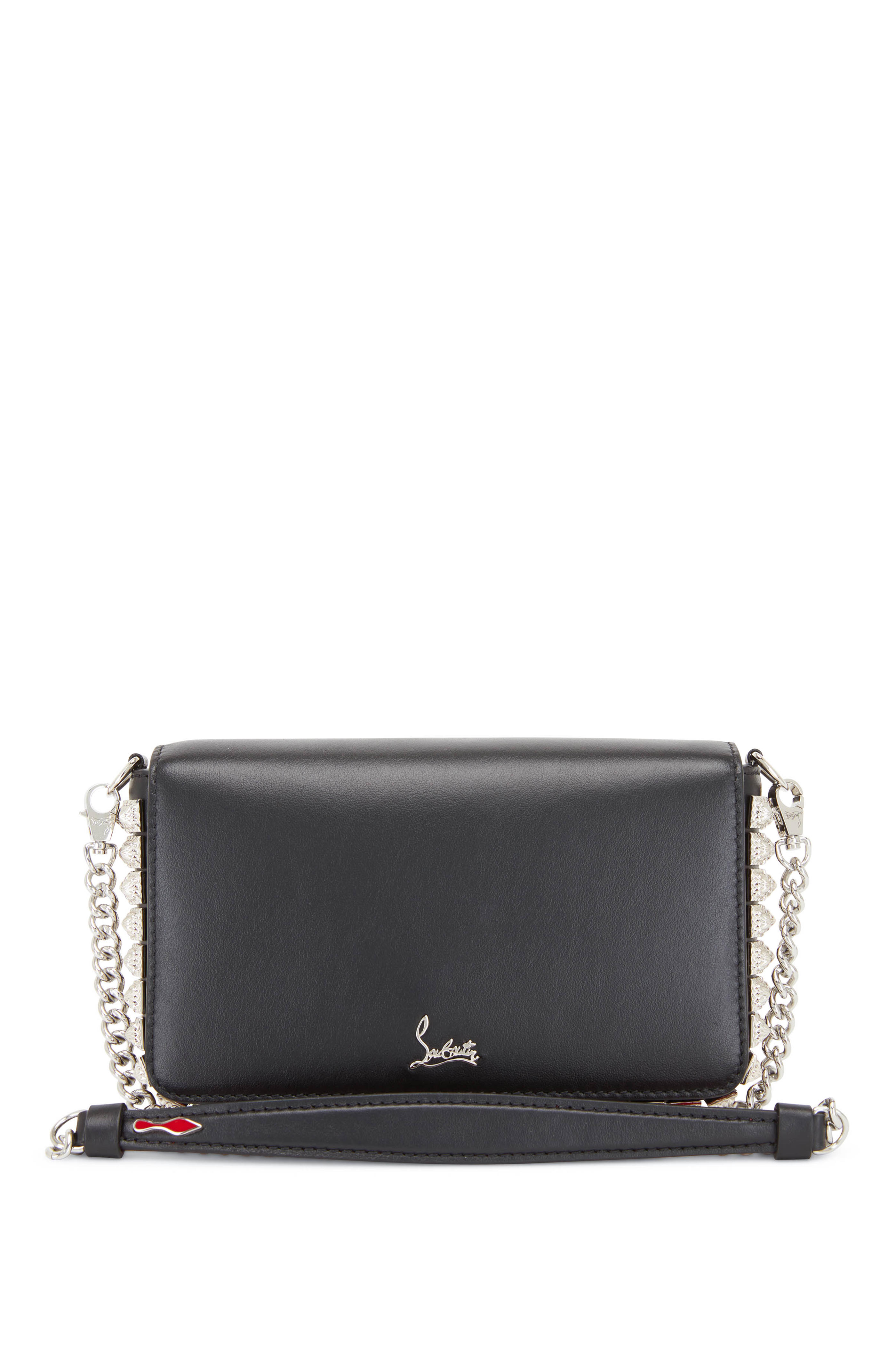 7947e9baacb Christian Louboutin - Zoompouch Black Leather & Silver Spikes ...
