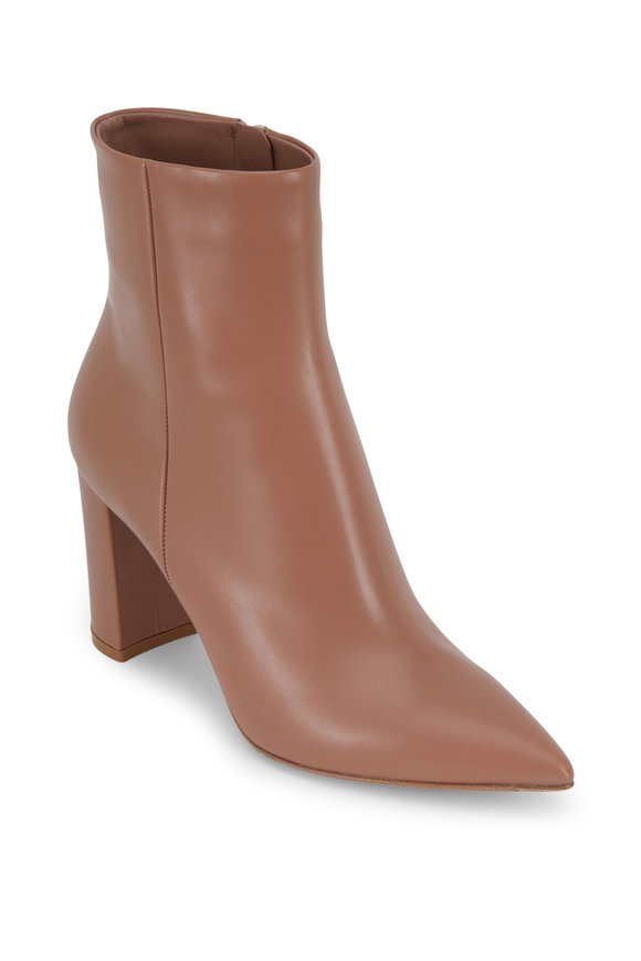 Gianvito Rossi Piper Praline Leather Short Boot, 85mm