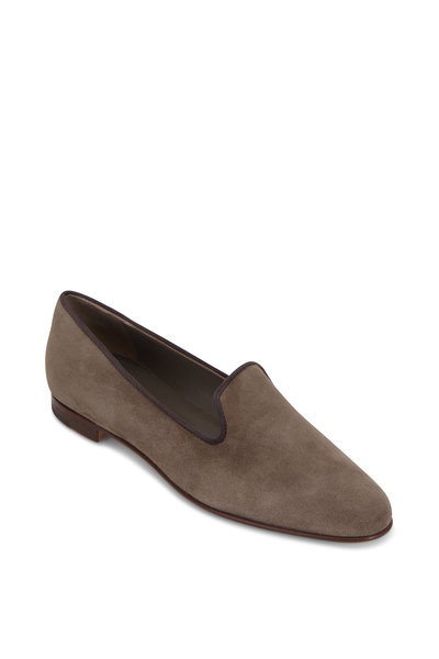 Manolo Blahnik - Dipla Taupe Suede Loafer