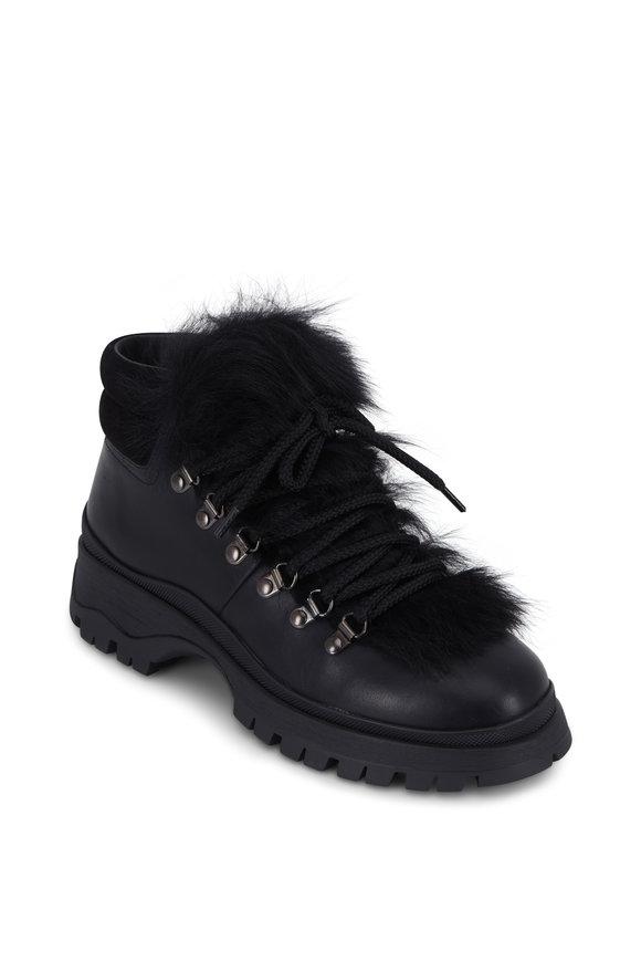 Prada Black Leather & Fur Short Hiking Boot