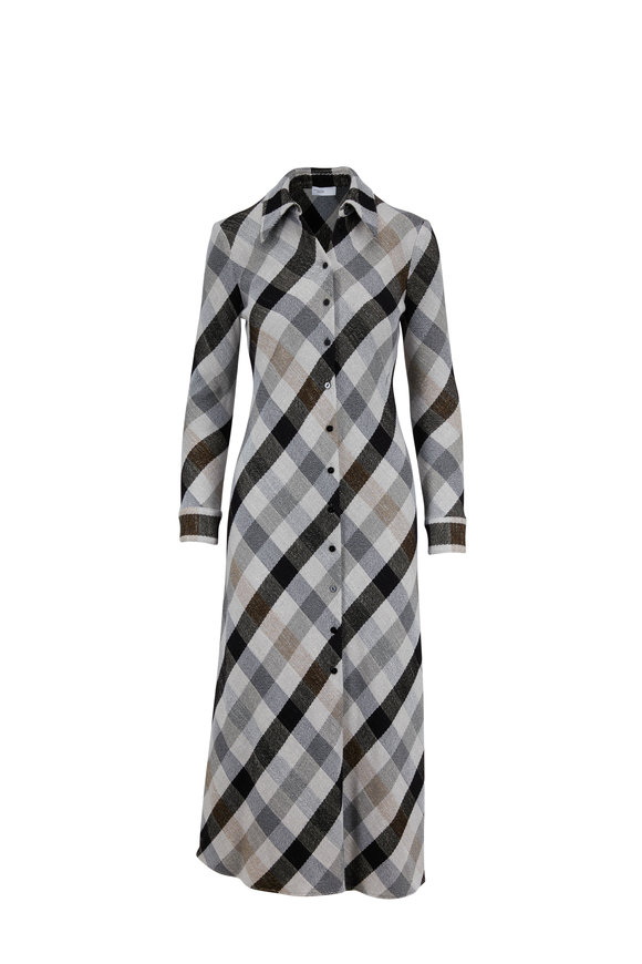 Rosetta Getty Gray & Black Plaid Long Sleeve Shirtdress