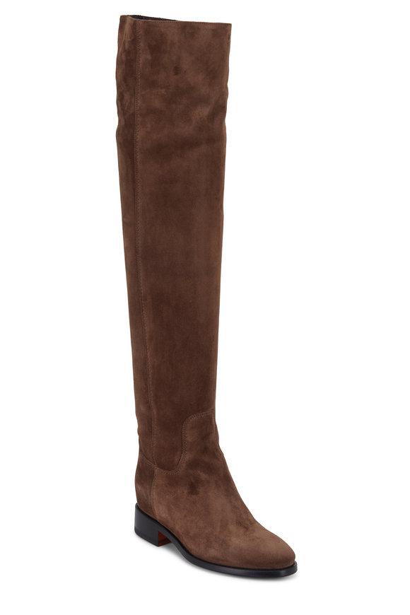 Santoni Hermione Brown Suede Over-The-Knee Boot