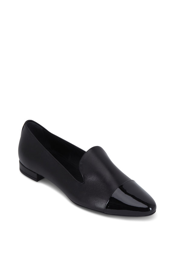 AGL Black Leather Cap-Toe Loafer