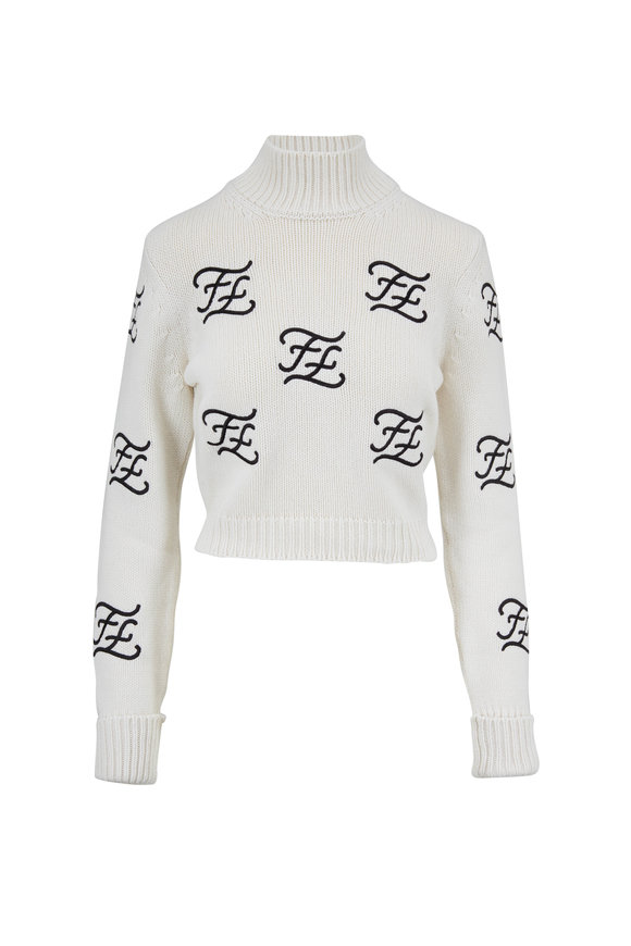 Fendi White Karligraphy Embroidered Crop Sweater