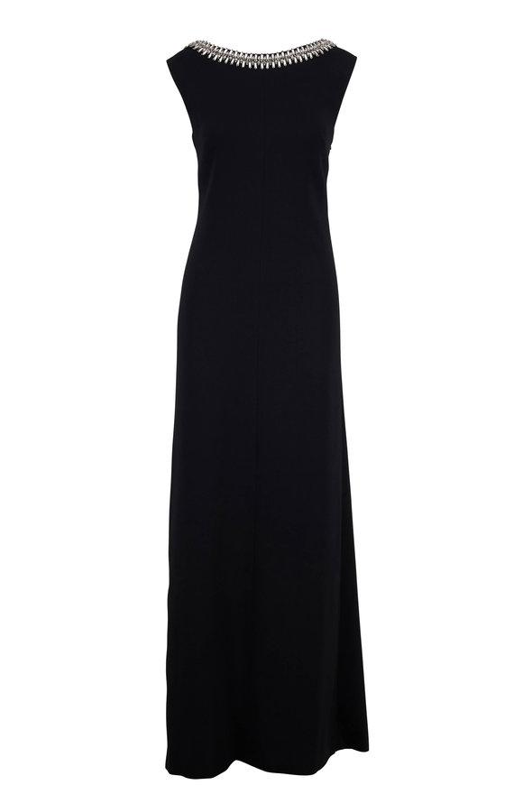 Carolina Herrera Black Embellished Sleeveless Gown