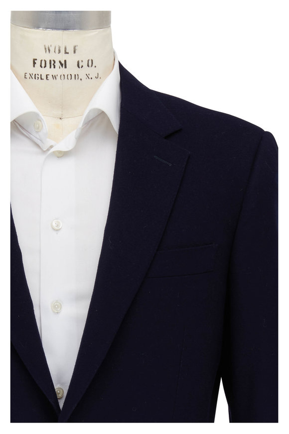 Canali Navy Wool & Cashmere Water Resistant Sportcoat