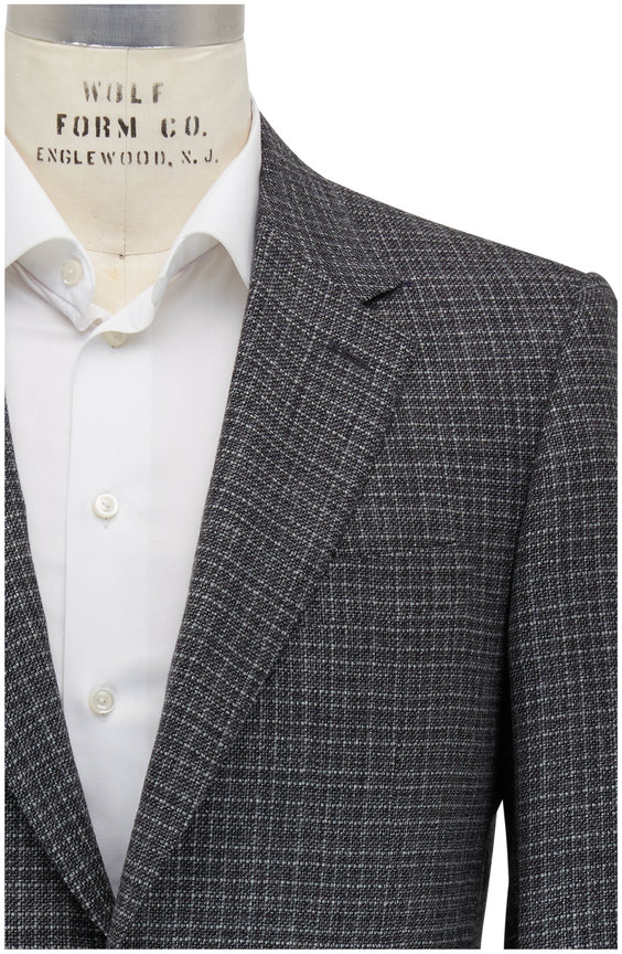 Canali Charcoal Gray Textured Wool & Cashmere Sportcoat