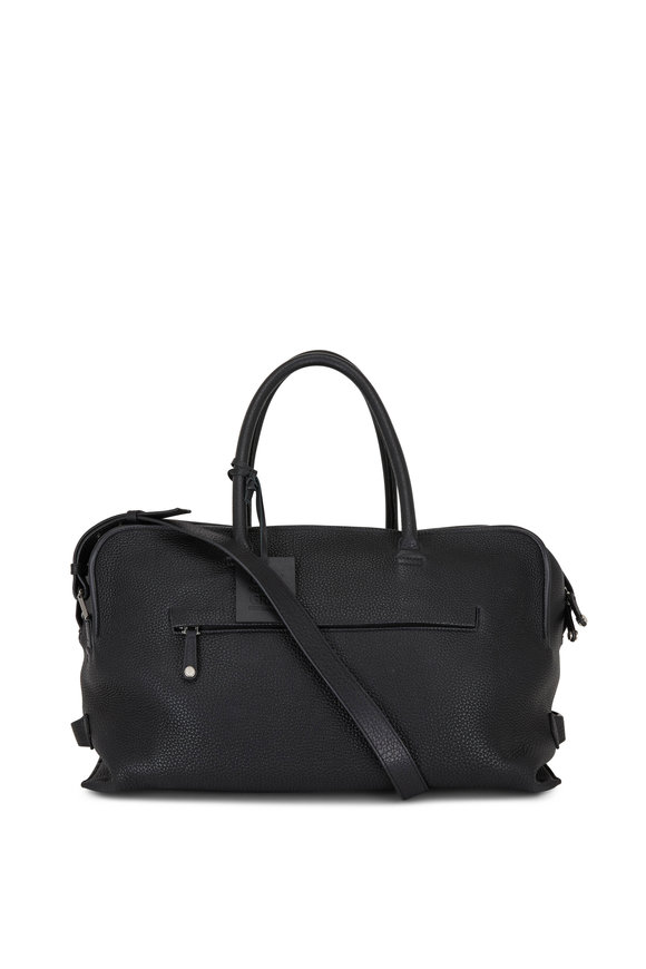 Grey New York Grey New England Black Pebbled Leather Duffle 45